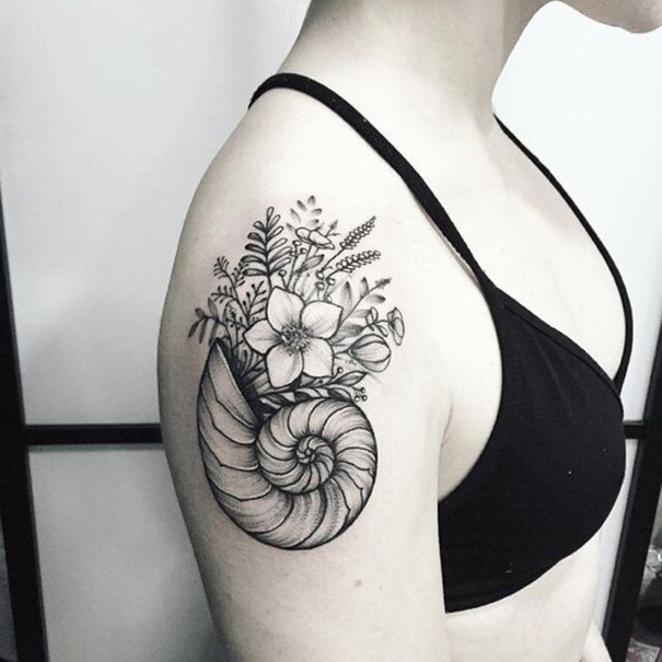 seashell tattoo design bali